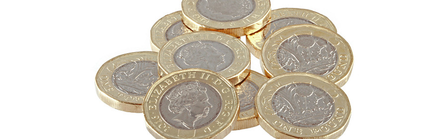 Pound coins illustrating the North of England franchise set up costs and cashflow